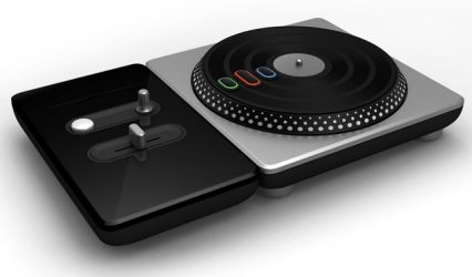 "The turntable controller that Activision is planning to release with DJ Hero, which includes a rotatable turntable and three ""stream"" buttons, a crossfader, effects dial, and Euphoria button."